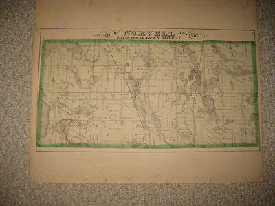 Antique 1874 Norvell Township Jackson County Michigan Handcolr Map Concord Print