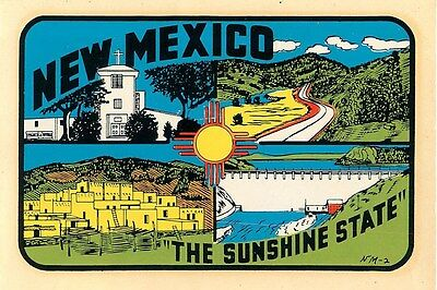 New Mexico Vintage Water Slide Decal Tourist Luggage Label