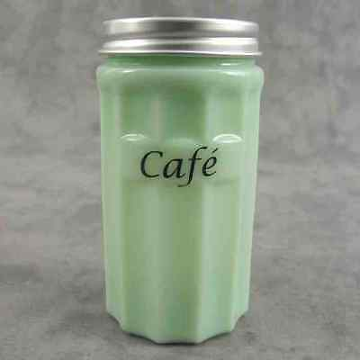 JADEITE GREEN GLASS FRENCH CAFÉ Coffee CANISTER w/ Metal Lid ~ COLUMN DESIGN ~