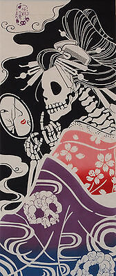 Tenugui Japanese Cotton Cloth 'Surreal Geisha'  Skeleton Fabric