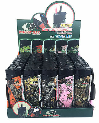 50 Pack Mossy Oak Red Torch Jet Flame Lighter Refillable Windproof w/ White LED