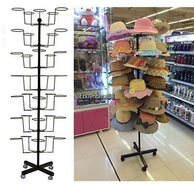 Black 35 Hat Cap Display Retail Hat Rack Rotating Adjustable Metal Stand Floor