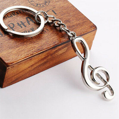 Creative Stainless Steel  Music Symbol Silver Keychain Ring Keyring Key Fob Gift