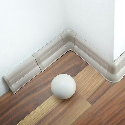 62mm PVC GREY ASH 2.5m SKIRTING BOARD & ACCESSORIES corner endcap trunking cover