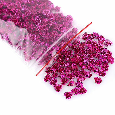 500pcs Rose Red Flower Shape Aluminium Loose Spacer Beads Fit Jewelry Makings C