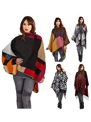 Womens Warm Winter Poncho Wrap Knitted Shawl Throw Cape Scarf Ladies One Size
