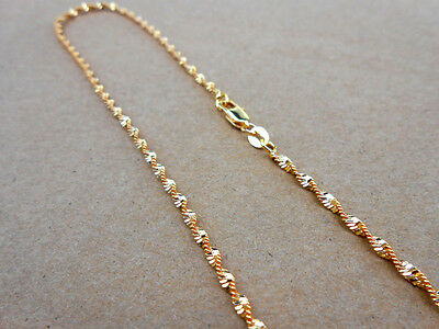 1PCS 18K Yellow Gold Filled Double Water Wave Necklaces Chain 16-30 inches