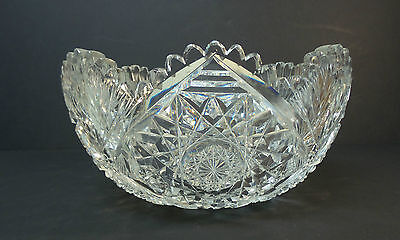 "GORGEOUS 19th C. AMERICAN BRILLIANT PERIOD (ABP) CUT GLASS 9"" CENTERPIECE BOWL"