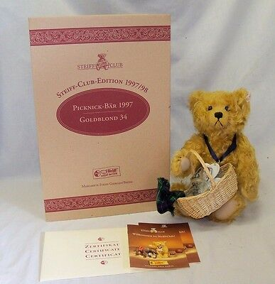 1997 LTD. ED. Steiff Club Picnic Bear Gold Blond #420108 COMPLETE w/ Box & COA