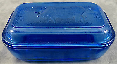 Cobalt Blue Glass Country Cow Scenic Farm Lidded 1 Lb. Butter Dish