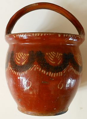 **Early 1800s Country Primitive Slip Decorated Redware Pottery    Folkart AAFA**