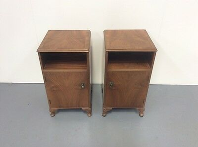 Antique Design Pair Of Walnut Bedside Cabinets Pot Cupboards Rare To Find A Pair