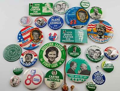 Massive Collection of 28 Different Jimmy Carter Buttons & Pins