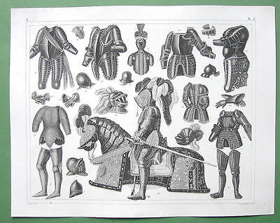 MILITARY Medieval Armor for Soldiers Horses Shield Helmet - 1844 Engraving Print
