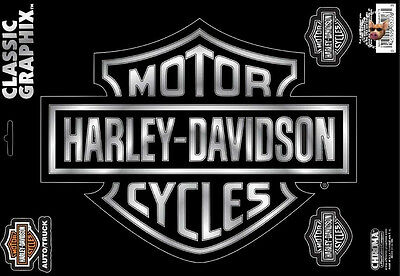 * Xl * Harley Davidson Motorcycle Bar And Shield Chrome Decal Made In The Usa