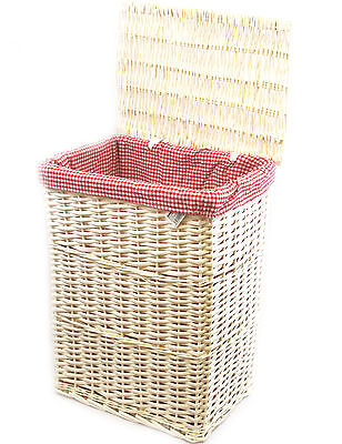 Arpan Red Gingham Lining White Wicker Laundry/Linen Basket Large Size -9117LLPG