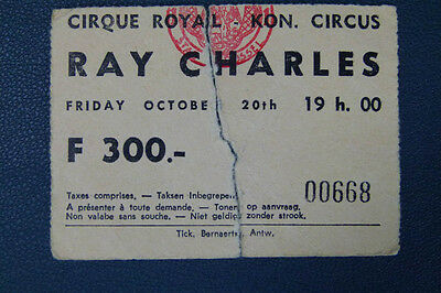 1973 Ray Charles Concert Ticket Stub Belgium Royal Circus Brussels Blus Music