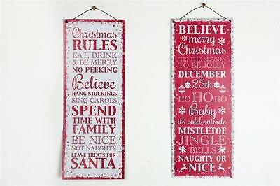 2 x Christmas Xmas Red  White Slogan Rules Hanging Metal Sign Plaque Decoration