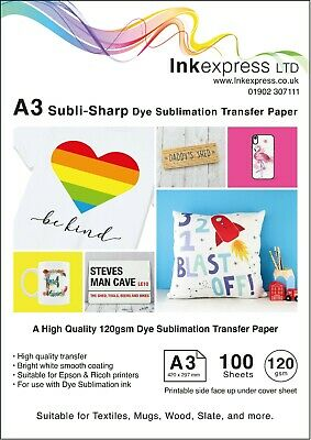 120gsm A3 Dye Sublimation Paper 100 sheets Ideal for Mug or T-shirts
