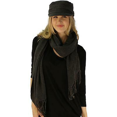 Ladies 2pc Winter Woven Knit Cadet Cap Hat w Ultra Soft  Big Scarf Set Charcoal