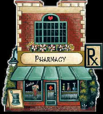 Brandywine Collectible Houses: PHARMACY Rx Drugstore - Wooden Shelf Sitter