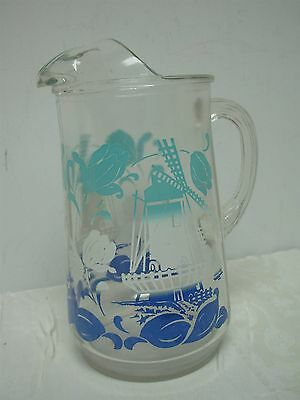 """VINTAGE SWANKY SWIG GLASS WATER PITCHER with BLUE TULIPS & WINDMILL 9 1/2"""""""