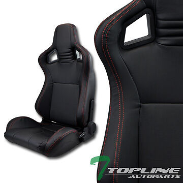 Mu Blk Pvc Leather Red Stitches Reclinable Racing Bucket Seats+Sliders Pair T12