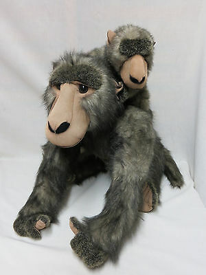 Large Baboon Adult Carrying Baby on Back Plush Stuffed Animal 18 Inch Excellent