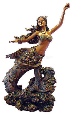 Mermaid Statue Holding Pearl Bronze Resin Figurine of the Sea Creature  #1452