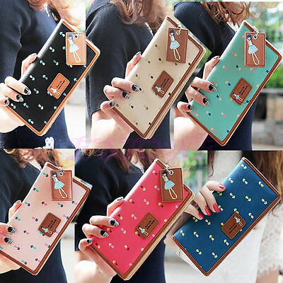 Fashion Women PU Leather Wallet Lady Long Card Holder Handbag Bag Clutch Purse