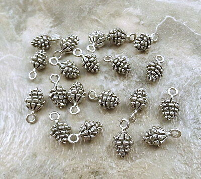 Set of 20 Pewter Pine Cone Charms  -  0028