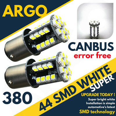 2 X White Tail/stop/brake Led Smd Canbus Bulbs Error Free 380 1157 Bay15D 44 Hid