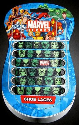 Boys Mens MARVEL HEROES Black + Green Shoe Laces 90cm 1 Pair FREE POST