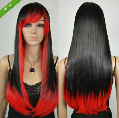Fashion Women Straight Black Mixed Red Ombre Long Cosplay Party Lolita Full  Wig e15858f9b