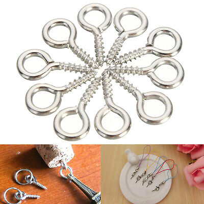 100x 12mm Eye Screw Pins Silver Plated Steel Clasp Hook Jewelry Findings Craft