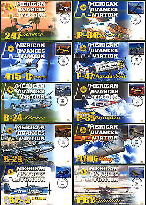 American Advances in Aviation Therome Cachets FDC Complete Set of 10