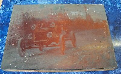 Large 8 1/2 x 6  Antique Men in Early 1900s Automobile Printer's Block Plate