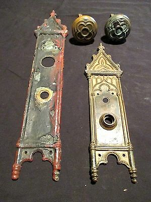 ~ Antique Brass Gothic Doorknobs And Plates Great Set ~ Architectural Salvage ~