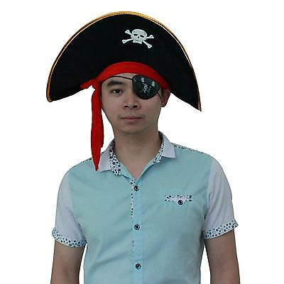 Adult Size Skull Print Pirate Captain Cap Hat Halloween Masquerade Party Prop