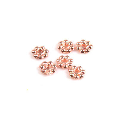 100x Snowflake Spacer Beads Charms Necklace Bracelet DIY Craft 4mm Rose Gold