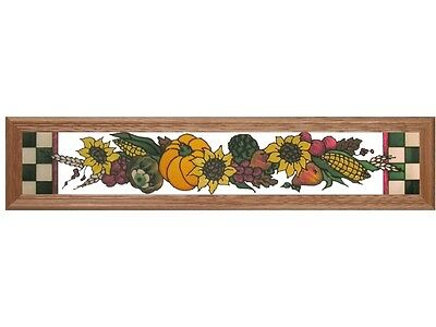 38x8 HARVEST SCENE Pumpkin Autumn Fall Stained Art Glass Framed Suncatcher