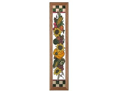8x38 HARVEST SCENE Pumpkin Autumn Fall Stained Art Glass Framed Suncatcher