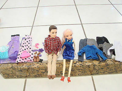 Lot of 2 dolls girl and boy with changes of clothes and shoes 11 5/8""