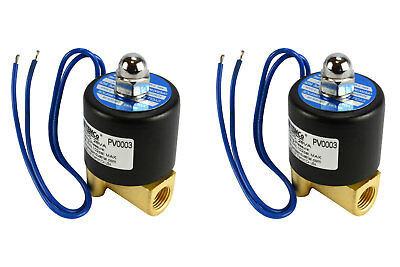 "2 LOT 1/4"" NPT Electric Brass Solenoid Air Water Valve NC 12V DC Pneumatic"
