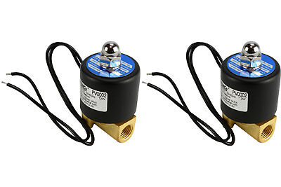 "2 LOT 1/4"" NPT Electric Brass Solenoid Air Water Valve NC 110V AC Pneumatic"