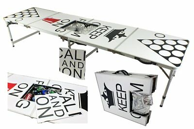 New 8' Aluminum Beer Pong Table Ice Bag Cooler Folding Tailgate Drinking Game #9