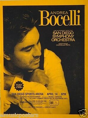 "ANDREA BOCELLI ""2005 TOUR"" SAN DIEGO CONCERT POSTER - Operatic/Latin Pop Music"