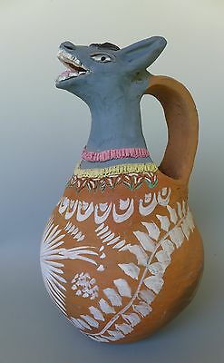 "Large Mexican Oaxaca donkey pitcher pottery GUILLERMINA AGUILAR 14 1/2"" tall"