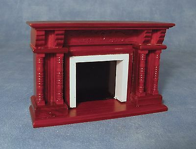 DOLLS HOUSE 1/12th SCALE  CARVED MAHOGANY WOODEN FIREPLACE