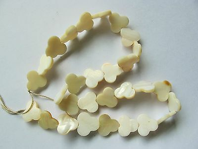 MOP Mother of pearl shell cream white flat clover club 14mm beads 15""